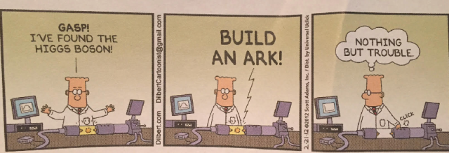Dilbert discovers the Higgs Boson by Scott Adams